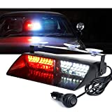 Xprite White & Red 16 LED High Intensity LED Law Enforcement Emergency Hazard Warning Strobe Lights For Interior Roof/Dash / Windshield With Suction Cups