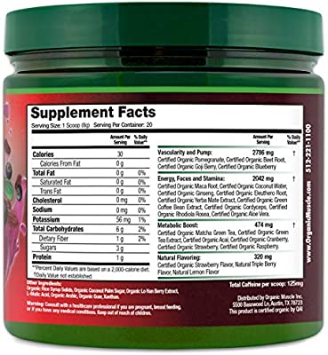 ORGANIC MUSCLE #1 Rated Organic Pre Workout Powder-Natural Vegan Keto Pre-Workout & Organic Energy Supplement for Men & Women- Non-GMO, Paleo, Gluten Free, Plant Based -Lemon Berry -160g
