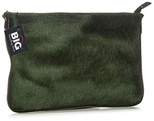 Big Handbag Shop Small Genuine Leather with Calf Fur Zip Clutch Shoulder Bag (V-145-S Olive Green)