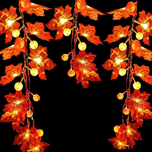 gffft 9.8 Ft & 20 LED Thanksgiving Decorations Lighted Fall Garland, Thanksgiving Lights Fall Maple Leaves String Lights Thanksgiving Decorations, Fall Home Decor Halloween Home Decor