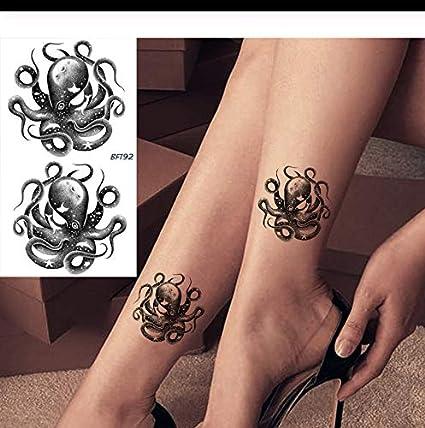 LFVGUIOP Negro Pulpo Pequeño Calamar Tatuajes Impermeables ...