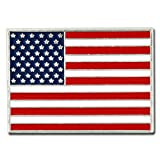 PinMart's Silver Plated Made in USA Rectangle American Flag Enamel Lapel Pin