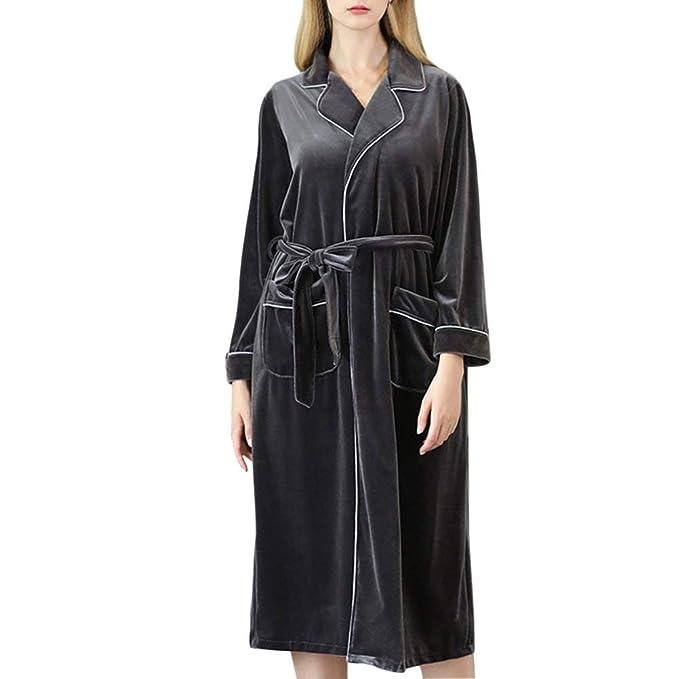 Pijama Mujer Otoño Invierno Espesar Pijamas Mujer Elegantes Señora Albornoz V-Cuello Manga Larga Fashion con Cinturón Batas Camisones: Amazon.es: Ropa y ...