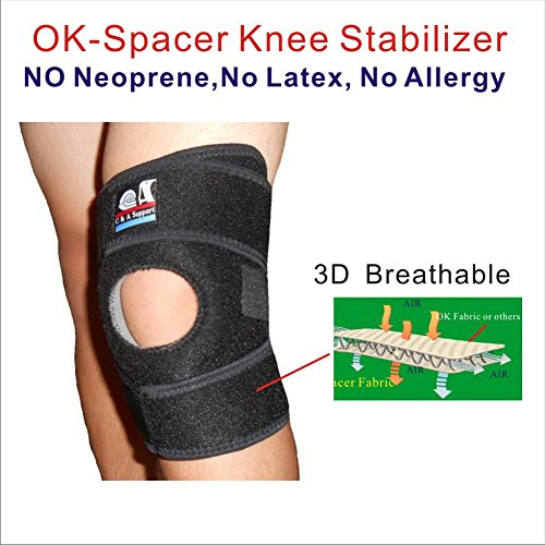 IRUFA KN-OS-18,Medical Grade,3D Breathable 4 Way Elastic Spacer Fabric 8.5 Inch Width Knee Wrap For Relieves Pain, Arthritis, ACL, Meniscus Tear, Sports, Running, Basketball, Athletic One PCS by IRUFA