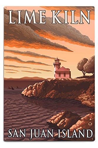 Lantern Press San Juan Island, Washington - Lime Kiln Lighthouse (12x18 Aluminum Wall Sign, Wall Decor Ready to Hang)