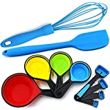 Silicone Whisk - Blue Spatula - Measuring Cups Collapsible and Spoons - 10 Piece Set - Cooking and Baking Food Prep Kitchen Tools