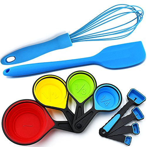 Silicone Whisk - Blue Spatula - Measuring Cups Collapsible and Spoons - 10 Piece Set - Cooking and Baking Food Prep Kitchen Tools (Spatulas Measuring)