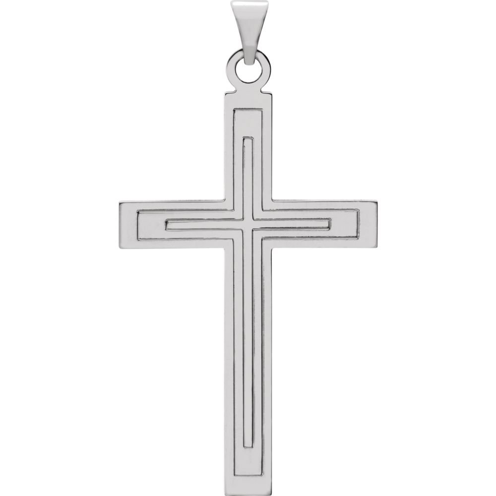 Jewels By Lux 14k White Gold 39x25mm Cross Pendant