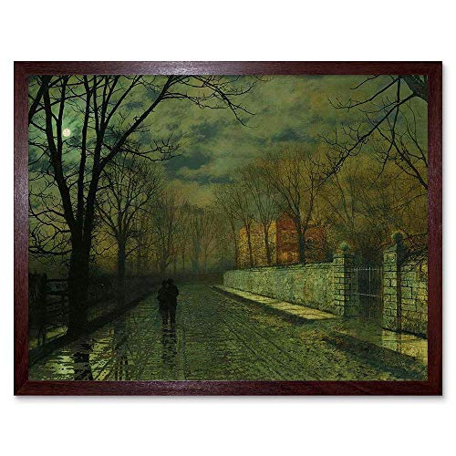 - Wee Blue Coo John Atkinson Grimshaw Paintings Figures Moonlit Lane Rain Art Print Framed Poster Wall Decor 12x16 inch