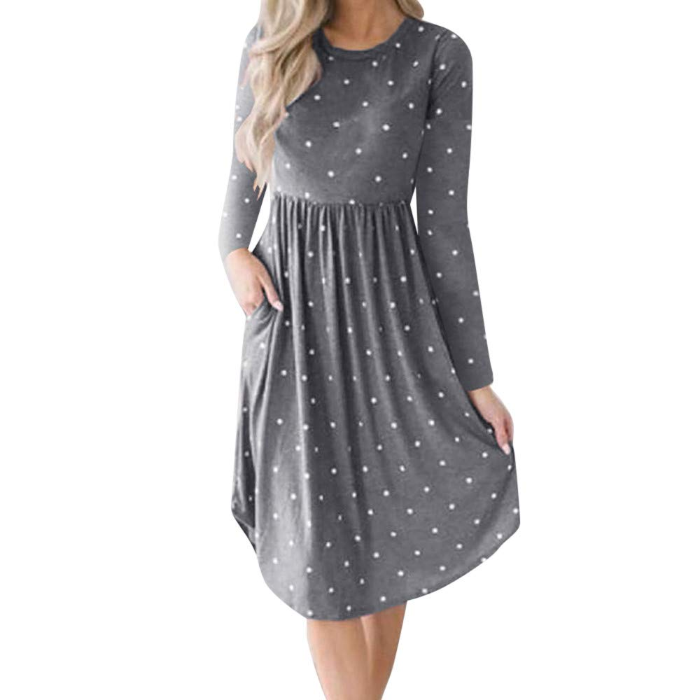 Ulanda Women Autumn Long Sleeve Pleated Polka Dot Pocket Loose Swing Casual Midi Dress