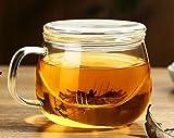 Flat Lid Clear Handmade Borosilicate Glass Cup Mug Tea Coffee Cup Bottle Infuser 300Ml