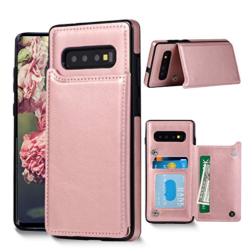 Galaxy S10 Plus Wallet Case, Samsung Galaxy S10 Plus Case with Credit Card Holder, Shuyo Premium Leather Kickstand Durable Shockproof Protective Cover Galaxy S10 Plus (6.4 inch) - Rose Gold