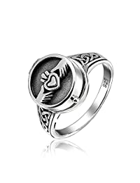 Bling Jewelry Irish Claddagh Locket Celtic Knot Band Sterling Silver Poison Ring