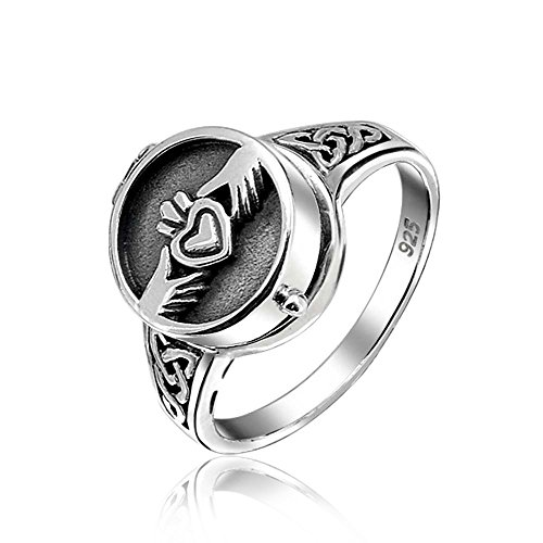 BFF Celtic Irish Friendship Couples Promise Heart Locket Claddagh Ring For Men For Women Oxidized 925 Sterling Silver