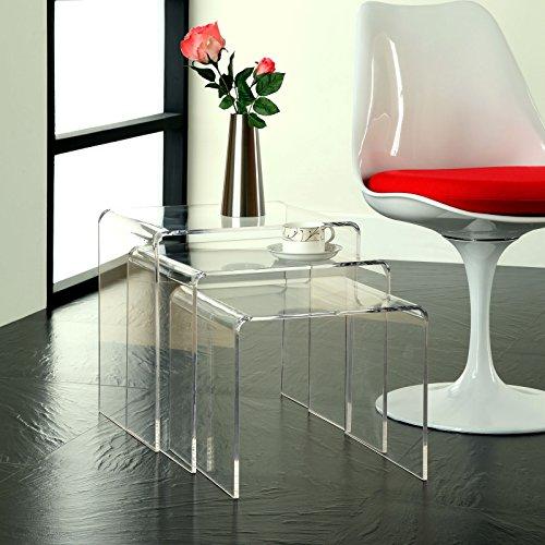 Modway Casper Modern Acrylic Nesting Tables, 3-Piece Set