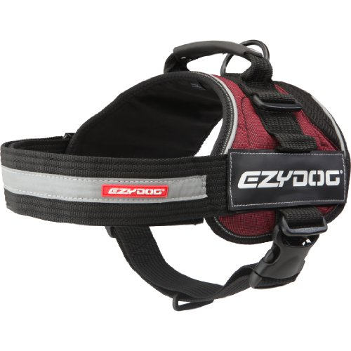 EzyDog Convert Trail-Ready Outdoor Adjustable Dog Harness - Perfect for Hiking, Walking, and Doubles as a Service Dog Vest - Superior Comfort Design with a Durable Traffic Handle (Large, Burgundy) ()
