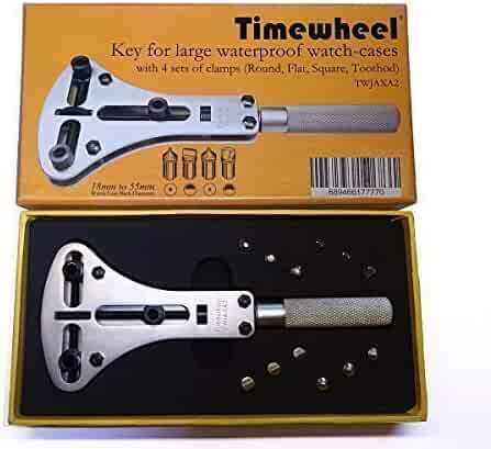 Timewheel TWJAXA2 Back Opener Wrench for Large Waterproof Watch-Cases With 4 Sets of Champs (Round, Flat, Square & Toothod)