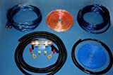 17 FT  BLUE POWER CABLE  3 FT BLACK GROUND CABLE  15 FT BLUE RCA CABLE  15 FT CLEAR SPEAKER CABLE  15 FT BLUE REMOTE WIRE 16 GA  SPLIT LOOM FOR CABLE PROTECTION  60A GOLD PLATED FUSE- AGU TYPE  CLEAR  IN LINE WATER RESISTANT FUSE HOLDER   POWER RING ...