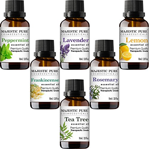 Majestic Pure Aromatherapy Essential Oils Set, Includes Lavender, Frankincense, Peppermint, Lemon, Tea Tree & Rosemary Oils - Pack of 6-10 ml each
