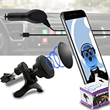 Case Compatible Multi-direction (Use with or without your existing case!) Black Magnetic Air Vent In Car Holder with 1000 mAh MicroUSB In Car Charger for ZTE Grand X2 IN