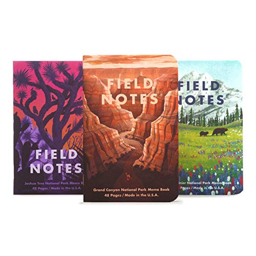 Field Notes: National Parks Series (Series B - Grand Canyon, Joshua Tree, Mount Rainier) - Graph Paper Memo Book 3-Pack - 3.5 x 5.5 Inch