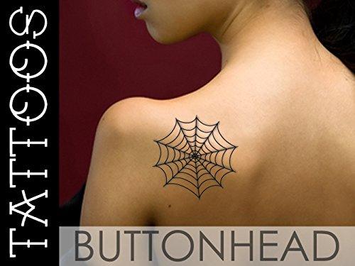 Black Widow Spider Web Tattoo - Spiderweb Tattoo - Halloween Costume Temporary Tattoos ()