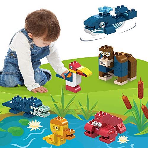 GobiDex Big Building Blocks for Toddlers,117PCS Classic Building Blocks with 6 Big Animal Blocks Set,Kids Educational STEM Toys Building Bricks Set,Compatible w/Major Big Blocks Gift for Boys Girls