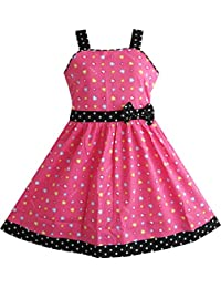 Sunny Fashion Girls Dress Heart Print Pink