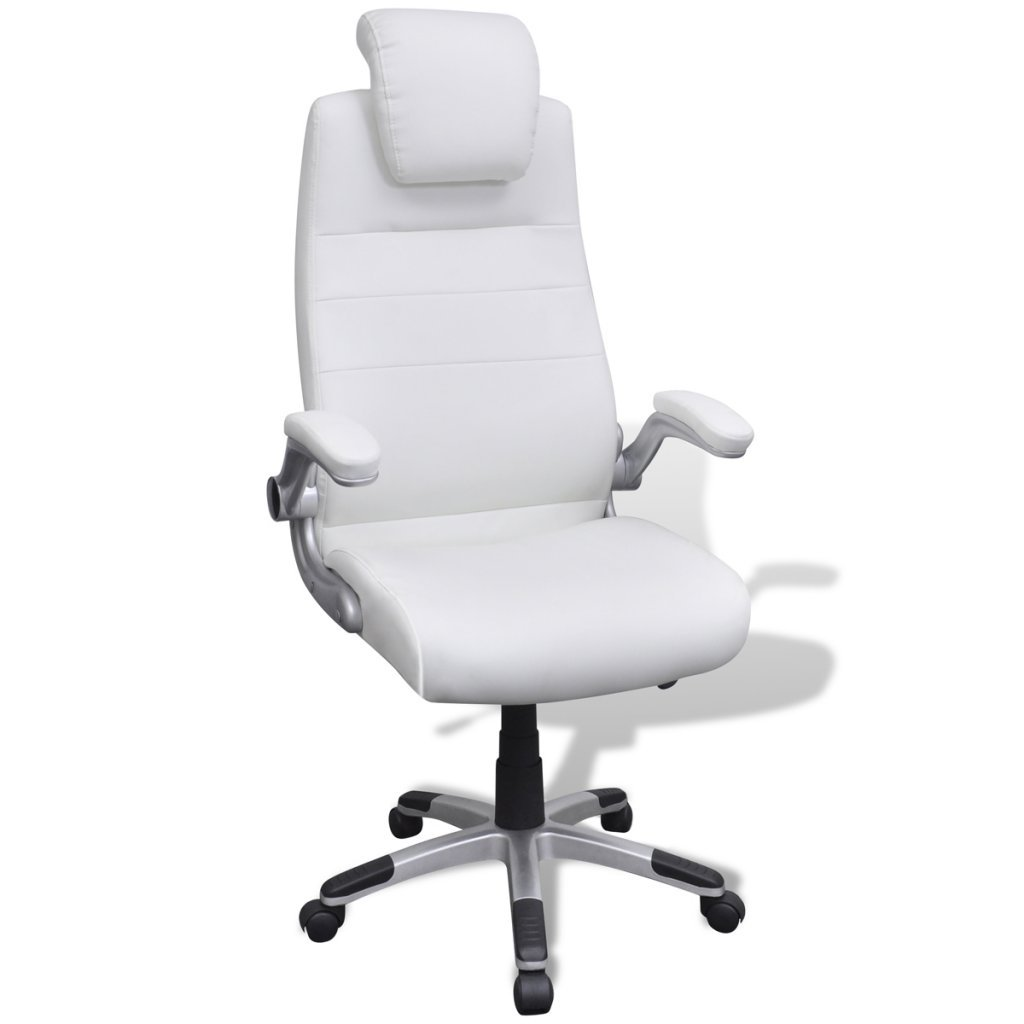 vidaXL Silla Blanca Giratoria Y Ajustable De Cuero Artificial Oficina Salón: Amazon.es: Hogar