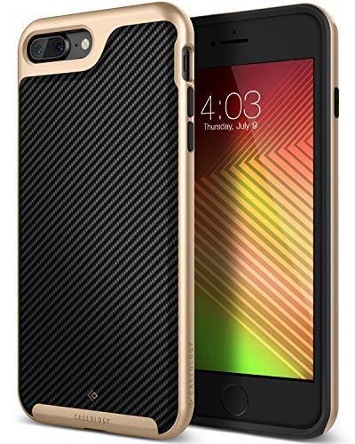 Caseology Envoy for Apple iPhone 8 Plus Case (2017) / for iPhone 7 Plus Case (2016) - Premium Leather - Carbon Fiber Black