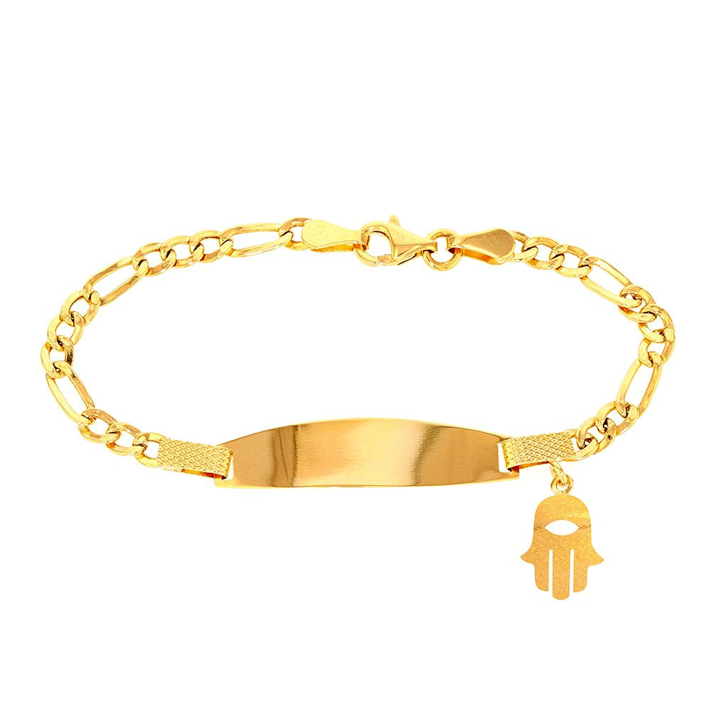 Solid 14K Yellow Gold Baby ID Bracelet with Hamsa, 6.5''
