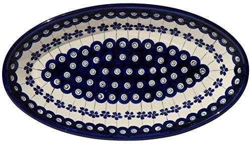 Polish Pottery Oval Serving Platter From Zaklady Ceramiczne Boleslawiec 1103-166a Classic Pattern, Dimensions: 11 Inch X 6.25 Inch ()