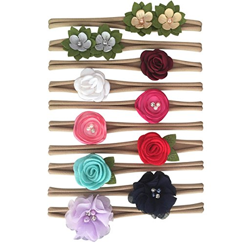 Baby Girl Roses (Rsky Baby Girls Headbands Big Floral Hair Bow Nylon Bands for Newborn Infant Toddler Photo Pack of 10)