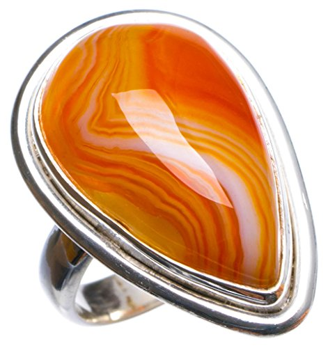 Natural Botswana Agate Handmade Unique 925 Sterling Silver Ring, US Size 6 X3091
