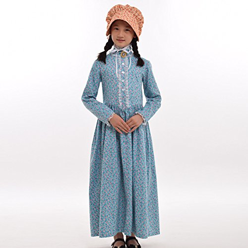 GRACEART Pioneer Costume Colonial Prairie Dress for Girls 100% Cotton (7 Colors Option)