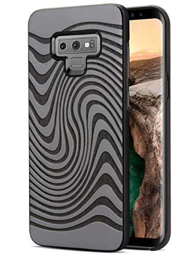 ood, Unique Real Wood Engraving Pattern Hybrid Slim Shock Absorption Heavy Duty Protective Bumper Cover Case for Samsung Galaxy Note 9 ()