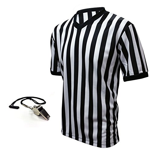 Winners Sportswear Official V-Neck Referee Jersey & Whistle Package (Adult Small) ()