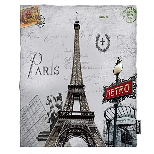 Paris Metro Eiffel Tower - Moslion Paris Blanket France Eiffel Tower French Post Metro City Marks Horse Flower Wreath Stamp Throw Blanket Flannel Home Decorative Soft Cozy Blankets 40x50 Inch for Baby Kids Pet Grey