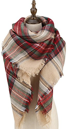 CHERRY CAT Tan and Red Blanket Scarf Flannel Infinity Plaid Scarves Christmas Oversized Shawl Wraps (Red & Camel) Blanket Plaid Flannel