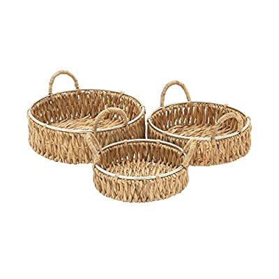 "Deco 79 41139 Sea Grass Storage Basket (Set of 3), 12""/14""/16""W - Suitable to use as a decorative item Unique home decor This product is manufactured in Viet nam - living-room-decor, living-room, baskets-storage - 51ZDljqCJtL. SS400  -"