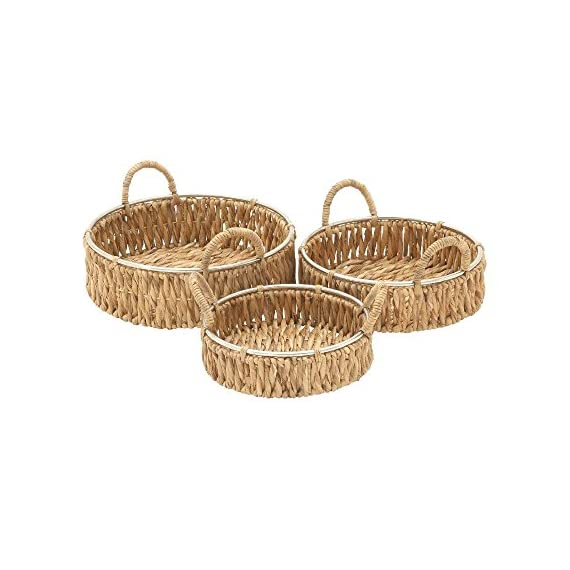 """Deco 79 41139 Sea Grass Storage Basket (Set of 3), 12""""/14""""/16""""W - Makes a decorative piece for home and outdoor decor Measures 18. 75-Inch length by 23. 5-Inch height by 12-Inch width This product is Made in India - living-room-decor, living-room, baskets-storage - 51ZDljqCJtL. SS570  -"""