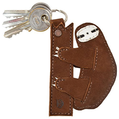 Critter Key Chain Rustic Leather Animal Key Ring Holder Handmade by Hide & Drink :: Sloth