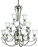 Kichler 1829NI Chandelier Lighting for Dining Room, Brushed Nickel 15-Light (42″ W x 48″ H) 1125 Watts