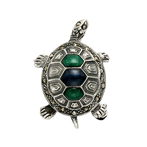 Wild Things Sterling Silver & Marcasite Box Turtle Pin w/Enamel Accents