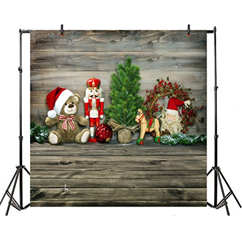 Vintage 8' Doll - Leyiyi 8x8ft Photography Backdrop Merry Christmas Background Vintage Wooden Cabin Happy New Year Pine Tree Dolls Giftfs Red Berry Santa Claus Holy Night Wreath Photo Portrait Vinyl Video Studio Prop