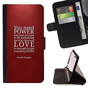 For Samsung Galaxy S5 V SM-G900 Power Love Quote Maroon Red Text Beautiful Print Wallet Leather Case Cover With Credit Card Slots And Stand Function