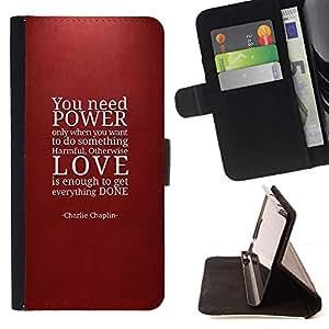 Momo Phone Case / Flip Funda de Cuero Case Cover - Poder cita del amor Rojo del marrón de texto - Samsung Galaxy S5 Mini, SM-G800