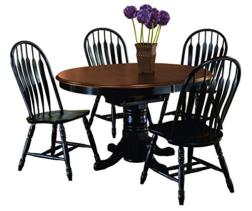 Sunset Trading DLU-TBX4266-4130-AB5PC Black Cherry Selections Dining Table Set Distressed Antique ()