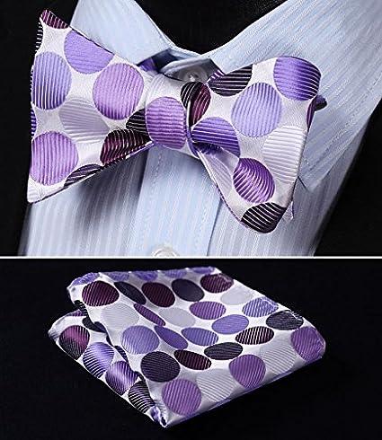 HISDERN Mens Polka Dot Self Bow Tie Handkerchief Party Wedding Bowtie /& Pocket Square Set
