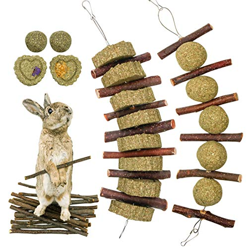 Roundler Small Animal Chew Toys, Apple Sticks Grass Cake&Ball Bunny Pet Tooth Chew Toys, Pet Snacks Toys for Rabbits, Chinchilla, Hamsters, Guinea Pigs, Gerbils, Mini Macaws, Parrots (Style 3)